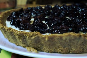 No bake cheesecake with roasted Grapes